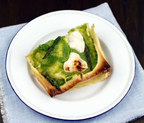 Lasagna agli asparagi e crescenza - BIO